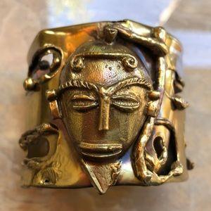 Jewelry - VTG Mask Hand Made Ethnic Brass Cuff Bracelet